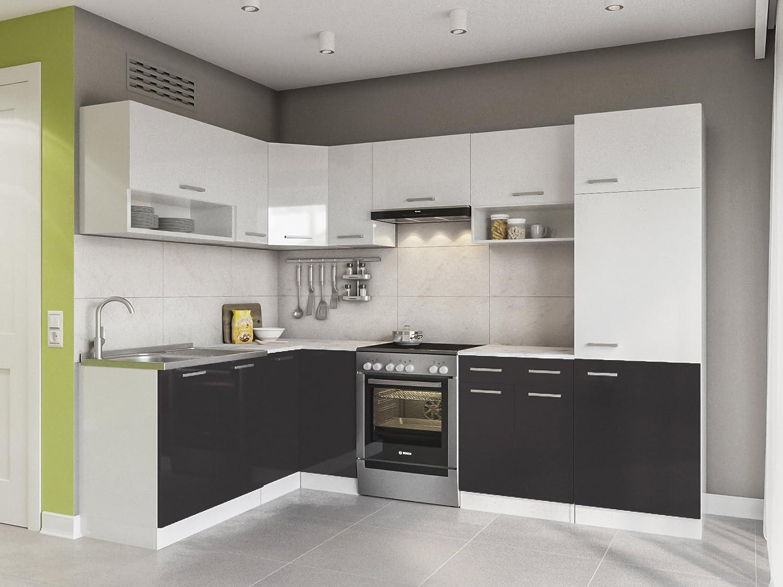Eldorado de Muebles Cocina LX 270 + cm Negro l Forma de Cocina línea Esquina Cocina Block: Amazon.es: Juguetes y juegos