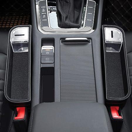 Doppel-USB-Lade und Zigarettenanz/ünder MINASAN Multifunktionale Aufbewahrungsbox f/ür Auto PU Leder Autositz Seitentaschen Organizer mit Kartenhalter,Getr/änkehalter