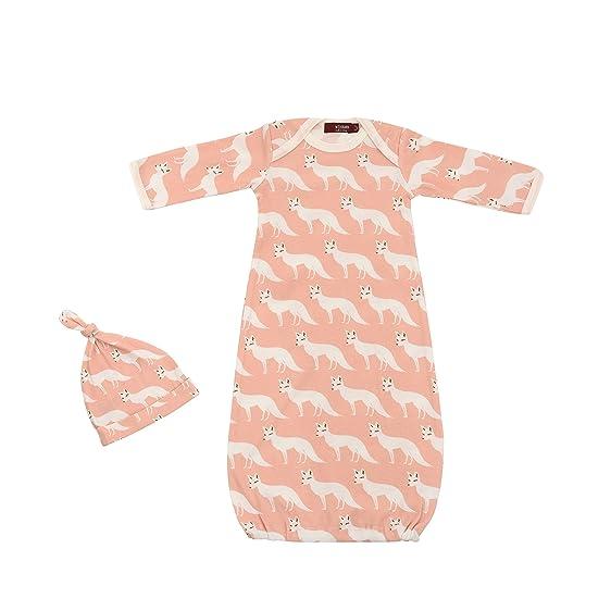 Amazon.com: Milkbarn Newborn Gown and Hat Set (Pink Fox): Clothing