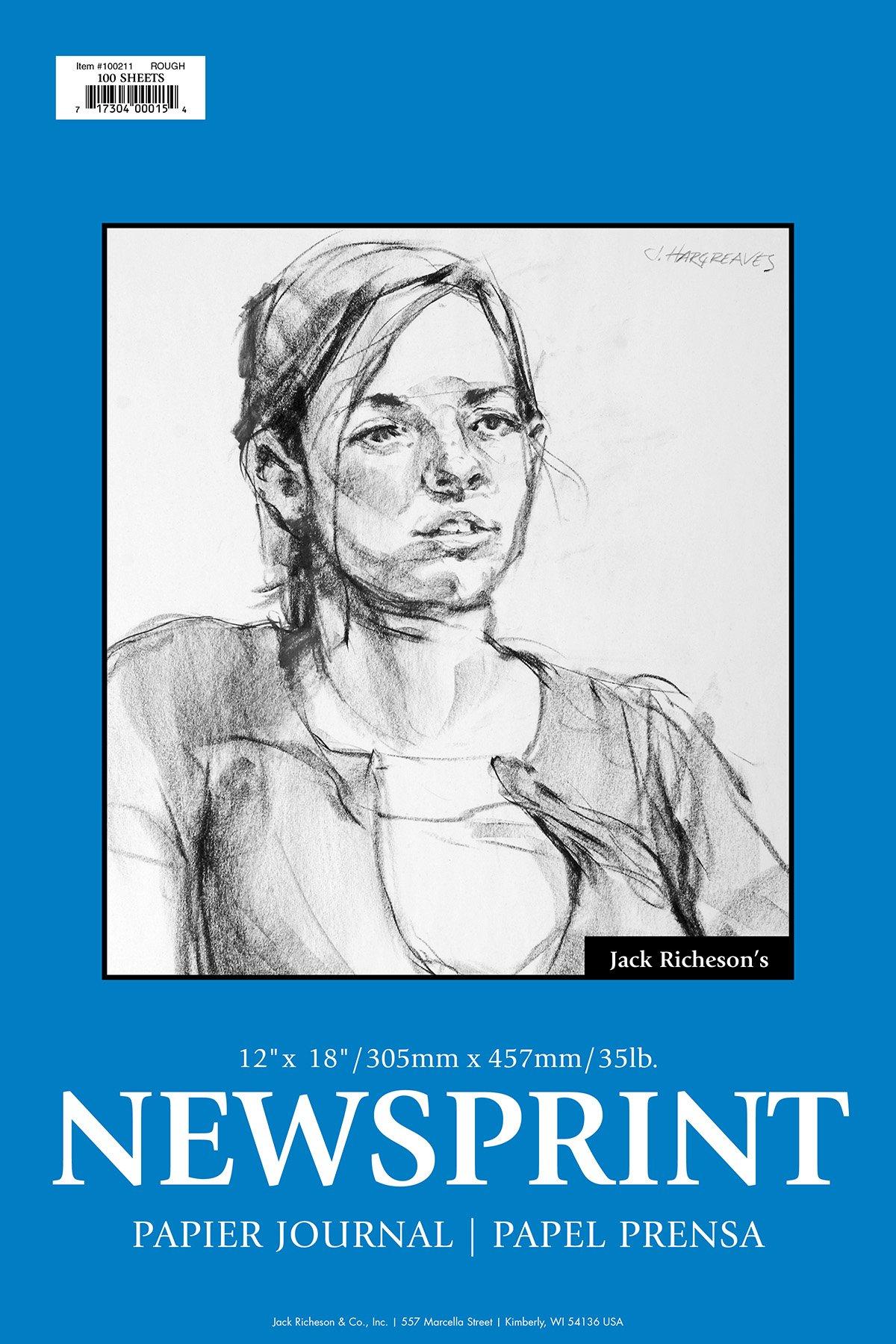 Jack Richeson Rough Newsprint 12'' x 18'' 100 Sheet by Jack Richeson