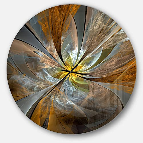 Designart Yellow Symmetrical Fractal Flower' Oversized Modern Metal Clock