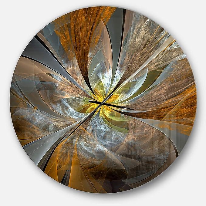 Designart Yellow Symmetrical Fractal Flower Oversized Modern Metal Clock Circle Wall Decoration Art 38x38 Inches Home Kitchen