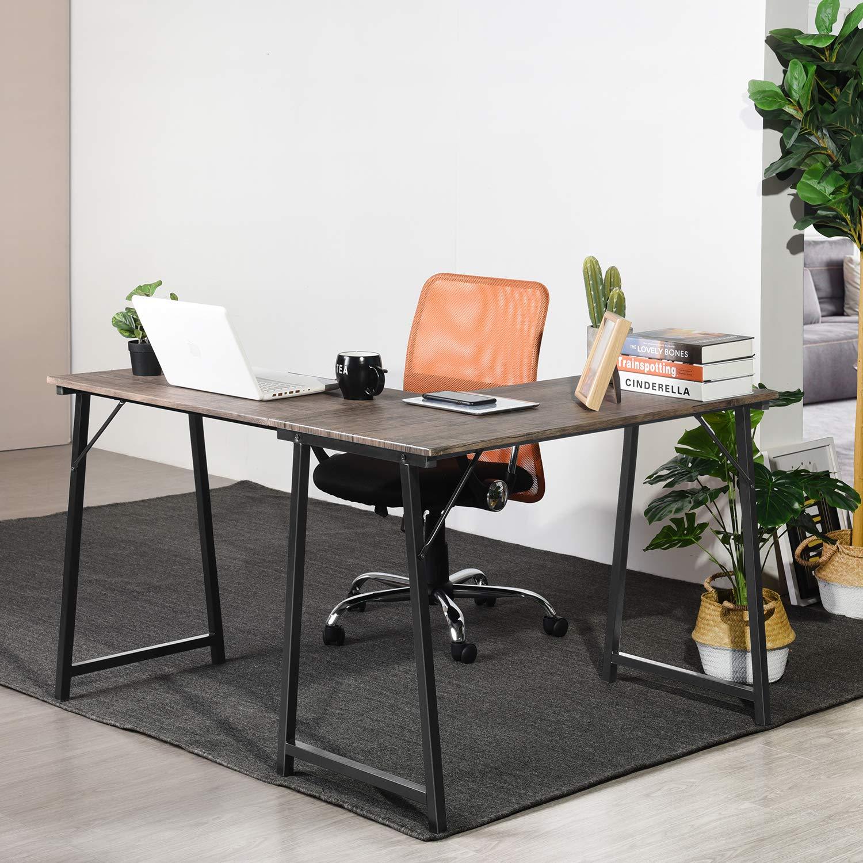 GreenForest Corner Desk L Shaped Computer Desk PC Latop Table Workstation for Home Office, Walnut by GreenForest (Image #8)