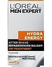 L'Oreal Men Expert Hydra Energy After-Shave reparierender Balsam, Beruhigt und belebt Haut nach Rasur, keine Rötungen, Hautirritationen und Pickel (1 x 100 ml)