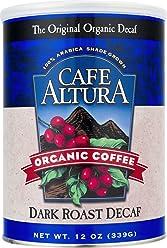 Cafe Altura Ground Organic Coffee, Dark Roast Decaf, 12 Ounce (Pack of 3)