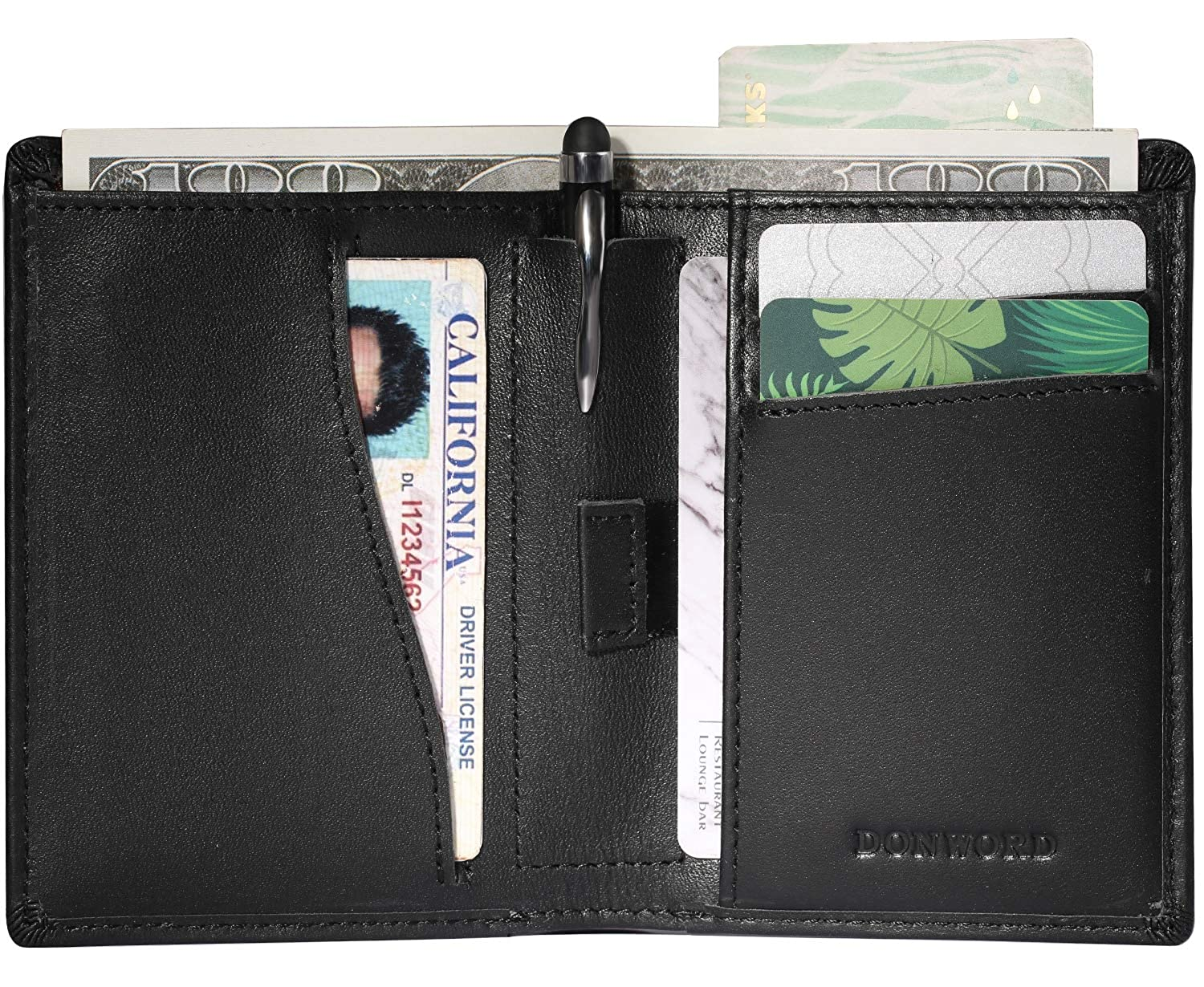 5413aa5a5125 Slim Bifold Wallet RFID Blocking with Stylus Pen holder, Awesome Men  Leather Front Pocket Minimalist Wallet Money clip