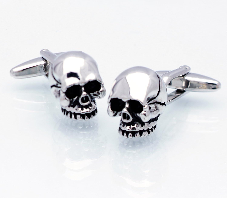 Silver Skull Cufflinks Skeleton Cuff Links Halloween Gemelos the 5th L 011281-1