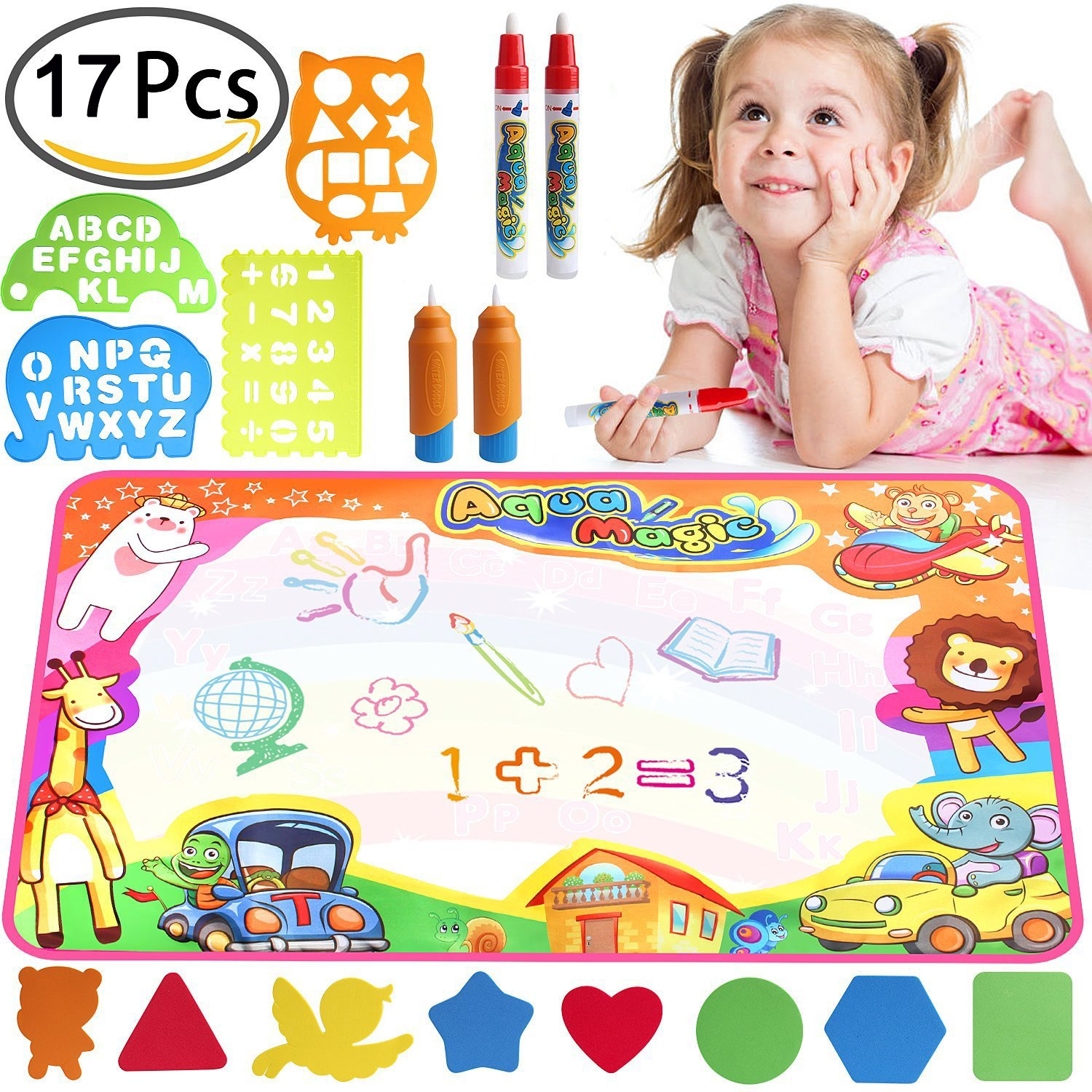 Toddlers Painting Board Aqua Writing Mats with Pens and Model,Kids Educational Travel Toy Gift for Boys Girls Toddlers AIMEDYOU Water Drawing Mat,Water Doodle Mat for Kids Toys
