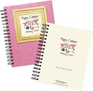 """product image for Journals Unlimited """"Write it Down!"""" Series Guided Journal, Happy Camper, Glamping Journal, with a Pink Hard Cover, Made of Recycled Materials, 7.5""""x 9"""""""