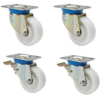 Satz Schwerlastrollen 150 mm TK 2.800 kg Lenkrolle ohne und mit Bremse Polyamidrad Kugellager Anschraubplatte