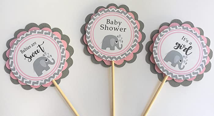 Amazon Com Pink Elephant Baby Shower Cupcake Toppers Baby Girl