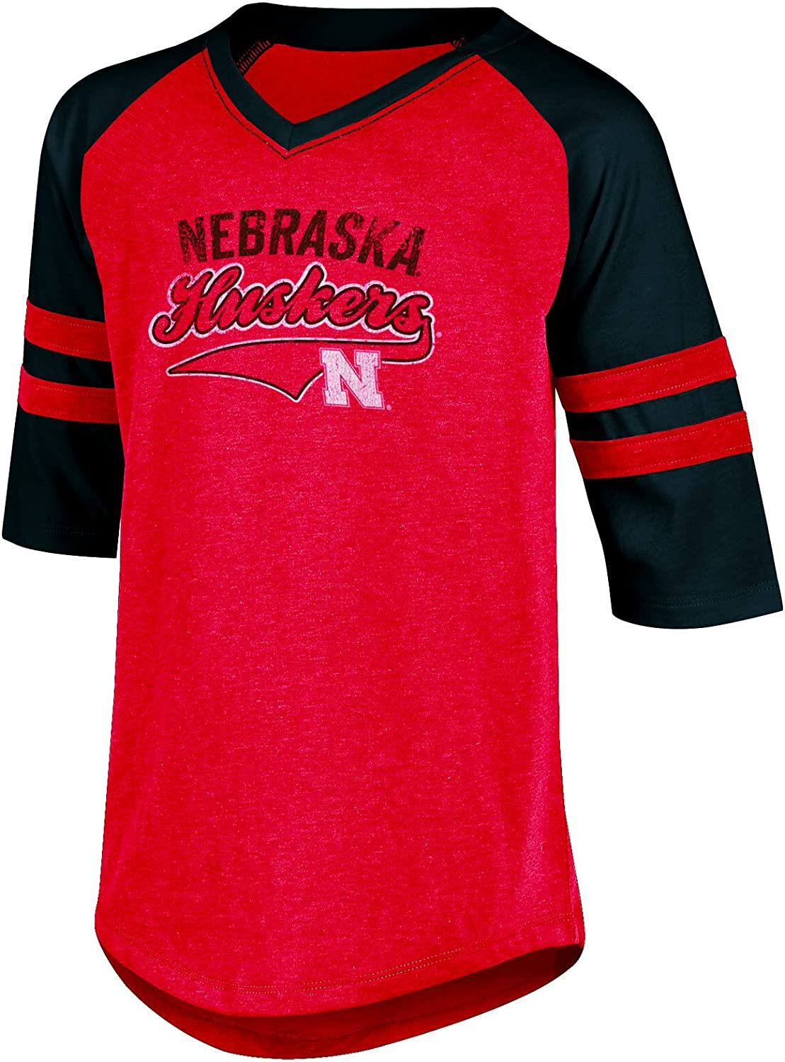 X-Large Champion NCAA Nebraska Cornhuskers Girls 3//4 Raglan Sleeve V-Neck Tunic Tee with Sleeve Taping Red Heather