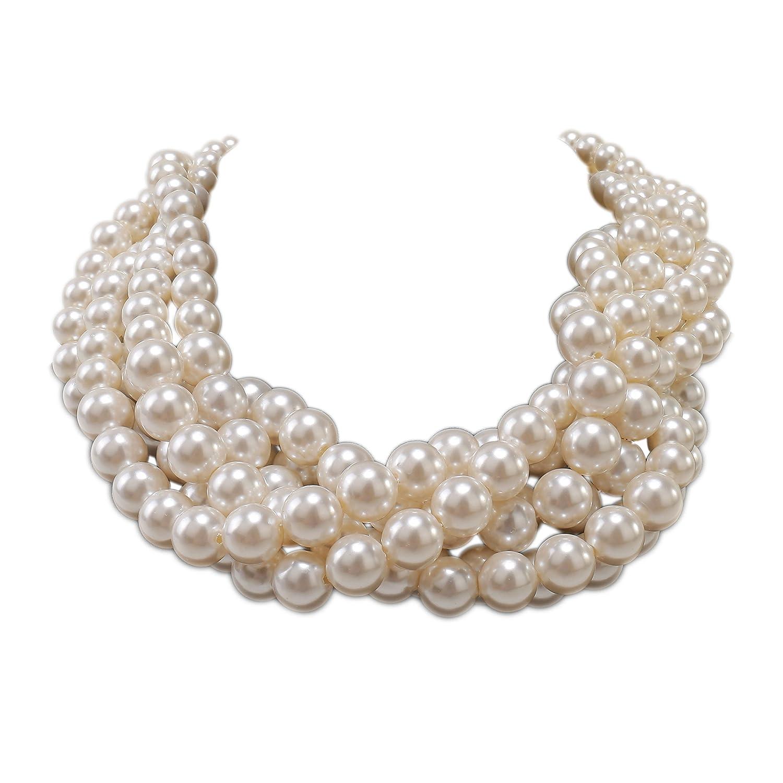 Kalse Simulated Pearl Cluster White Beads Twisted Statement Chunky Bib Short Choker Necklace NE0001