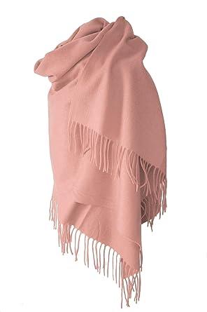 9d65c68bde9 Echarpe étole chale en laine et cachemire rose pâle grande épaisse et chaude