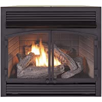 Duluth Forge Dual Fuel Ventless Fireplace Insert-32,000 BTU, T-Stat Control Gas fireplacee, Black