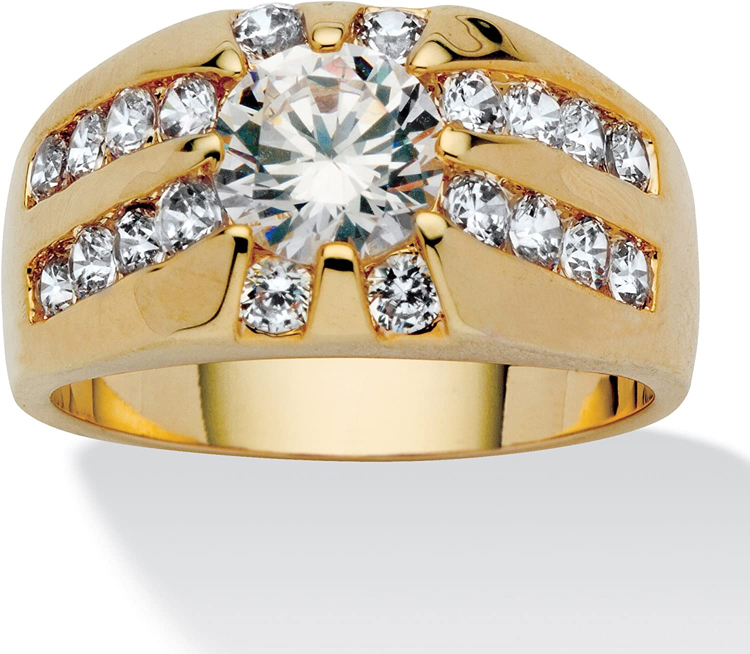 Palm Beach Jewelry Men's 14K Yellow Gold Plated Round Cubic Zirconia Channel Set Ring