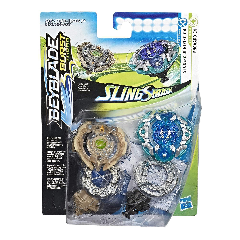 Hasbro Beyblade Burst Turbo SlingShock Dual Pack Quetziko Q4 /& Engaard E4