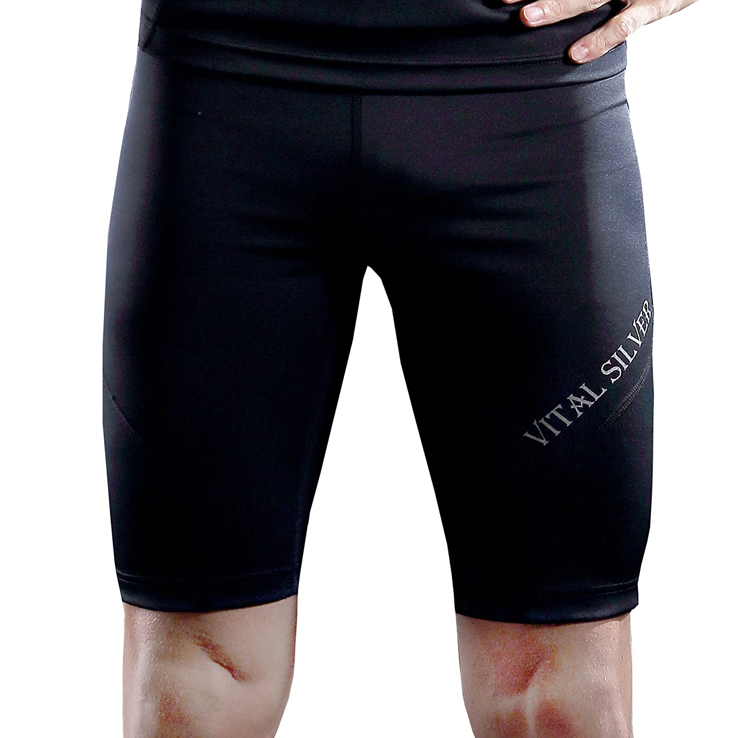 Vital Silver- High Performance for Triathlon Bio Bamboo Charcoal Men's Compression Shorts, Black