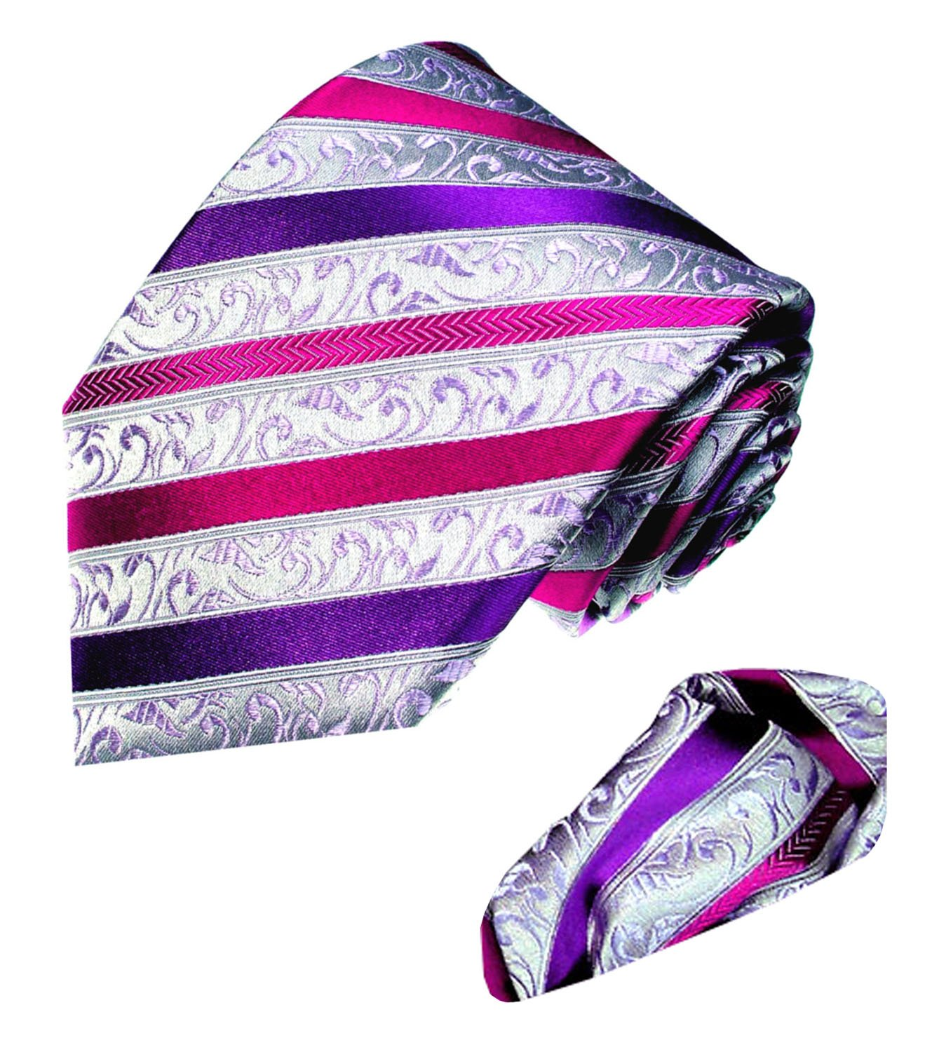 LORENZO CANA - Luxury Italian 100% Pure Silk Business Tie Hanky Set Silver Purple Stripes Necktie - 8443302 by LORENZO CANA