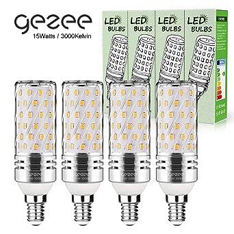 Gezee LED Plata Maíz Bombillas 15W E14 3000K Blanco Cálida LED Candelabros bombillas, 120 W