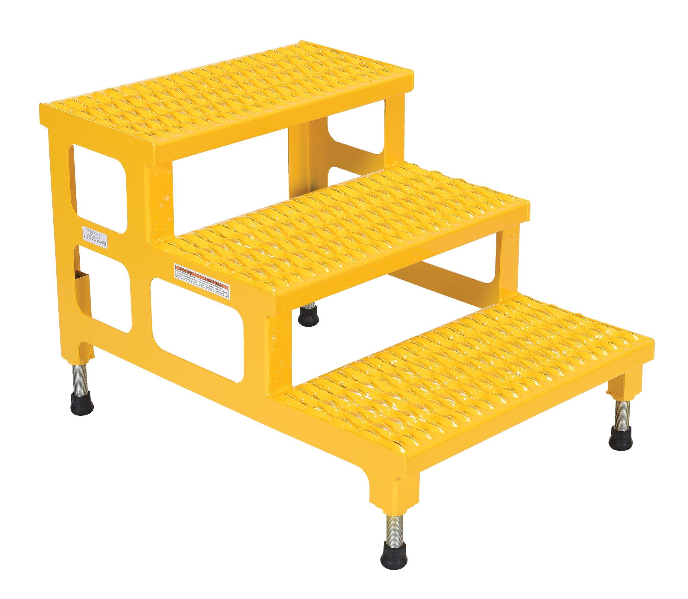 Vestil ASP-24-3 Steel Adjustable Step Mate Stand, 3 Step, 24'' x 34'', Yellow