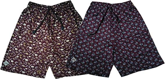 Bumchums Mercerised Maroon Printed Shorts (Set of 2) Men's Shorts at amazon