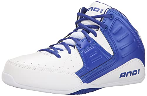 AND1 Men's Rocket 4.0 Basketball Shoe, White/Royal White, 7.5 M US