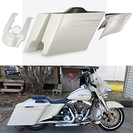 Advanblack Morocco Gold Pearl 4 1/2 INCH Extended Saddlebags Stretched Side  Covers Rear Fender Extension Fit for 2014 2015 2016 2017 2018 2019 Harley