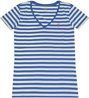 Ralph Lauren Polo V Ausschnitt Damen Shirt T-Shirt Blau-Weiss Grösse XS fe27e5950e