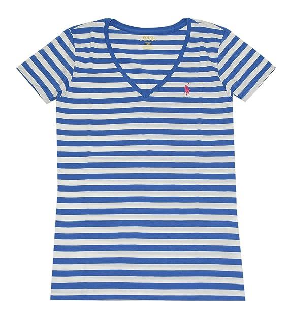 Ralph Lauren Mujer Cuello De Pico Camiseta De Algodón), diseño de rayas