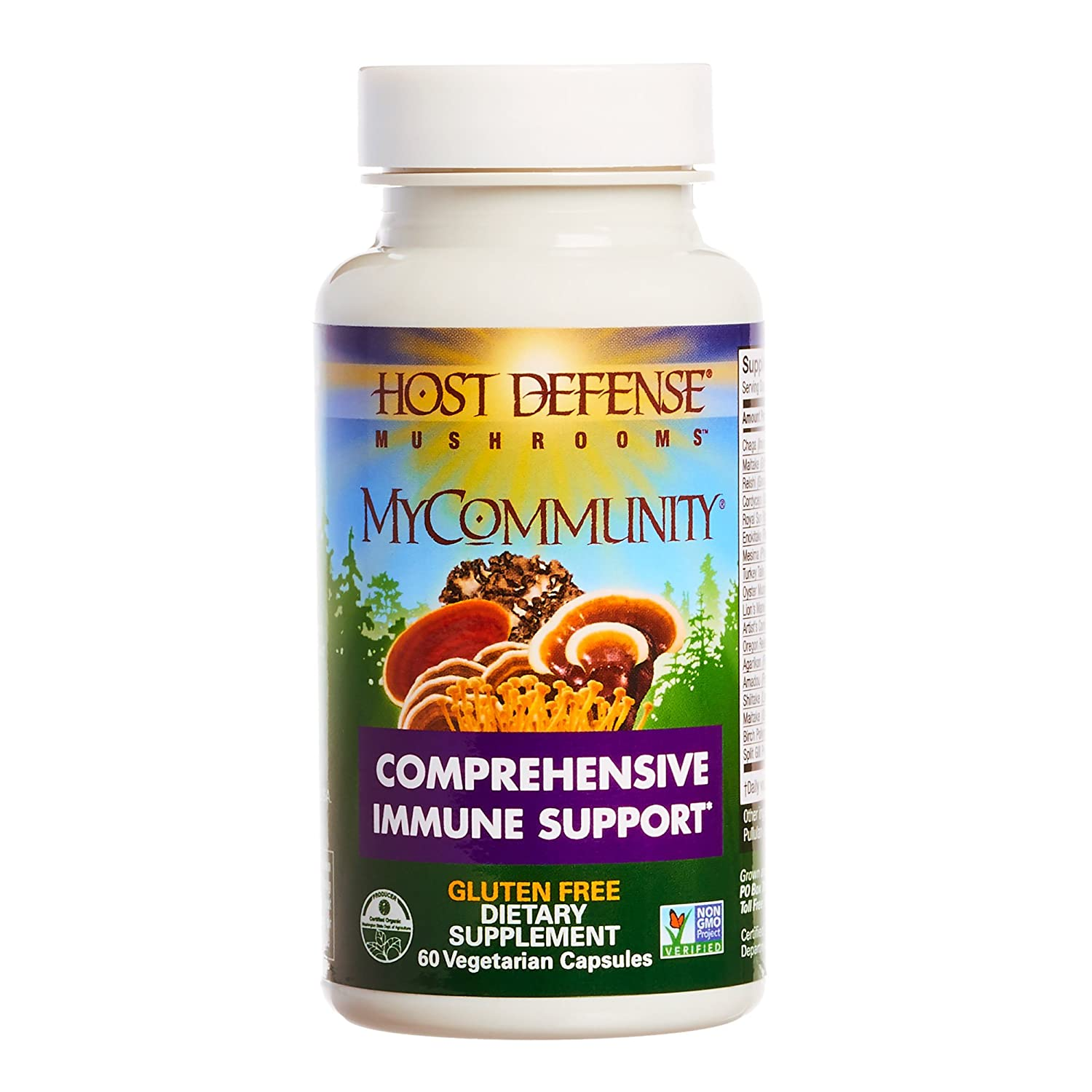 Host Defense – MyCommunity Multi Mushroom Capsules, Comprehensive Support for a Robust and Resilient Immune System with Lion s Mane, Turkey Tails, and Reishi, Non-GMO, Vegan, Organic, 60 Count
