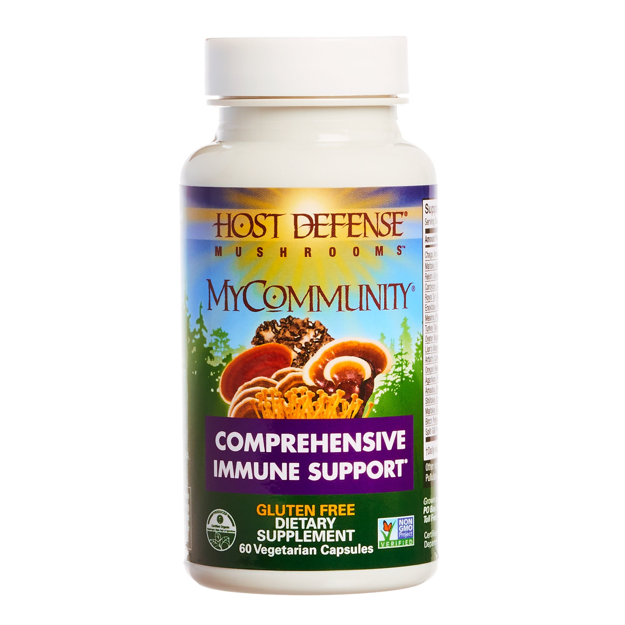 Host Defense - MyCommunity Multi Mushroom Capsules, Comprehensive Support for a Robust and Resilient Immune System with Lion's Mane, Turkey Tails, and Reishi, Non-GMO, Vegan, Organic, 60 Count