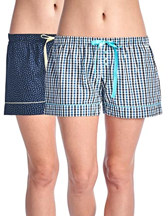 c7e07872a6a Casual Nights Women s 2 Pack Cotton Woven Lounge Boxer Shorts - Floral 17   Plaid 29