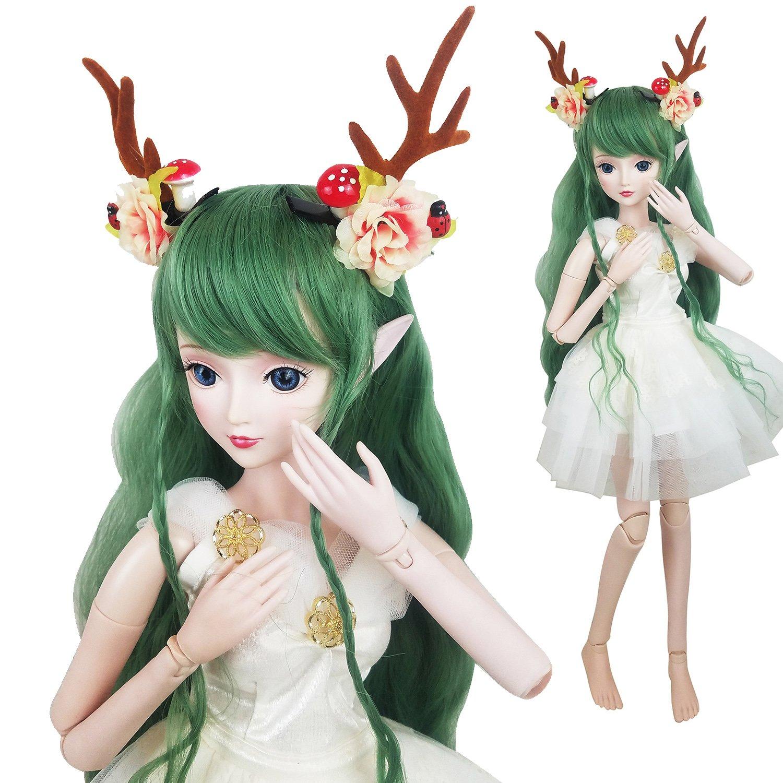 Green Deer 1/3 BJD Doll Spirit Demon Girl 24inch 60cm 19 Ball jointed dolls Baby Doll Toy Gift For Child   B07BN9P7DF