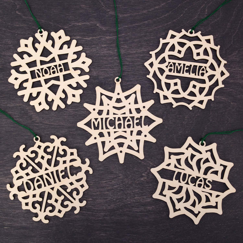 Xmas Decor Wooden Christmas Ornaments Christmas Decorations Handmade Set of 5 Christmas Ornament Personalized Custom Christmas Gift