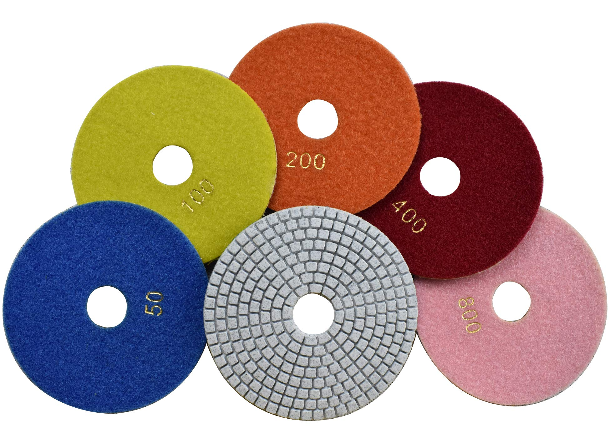 Konfor Wet Diamond 5 inch Polishing Pads 5 Packs Best Value for Granite Marble Travertine Concrete Quartz Terrazzo Renew