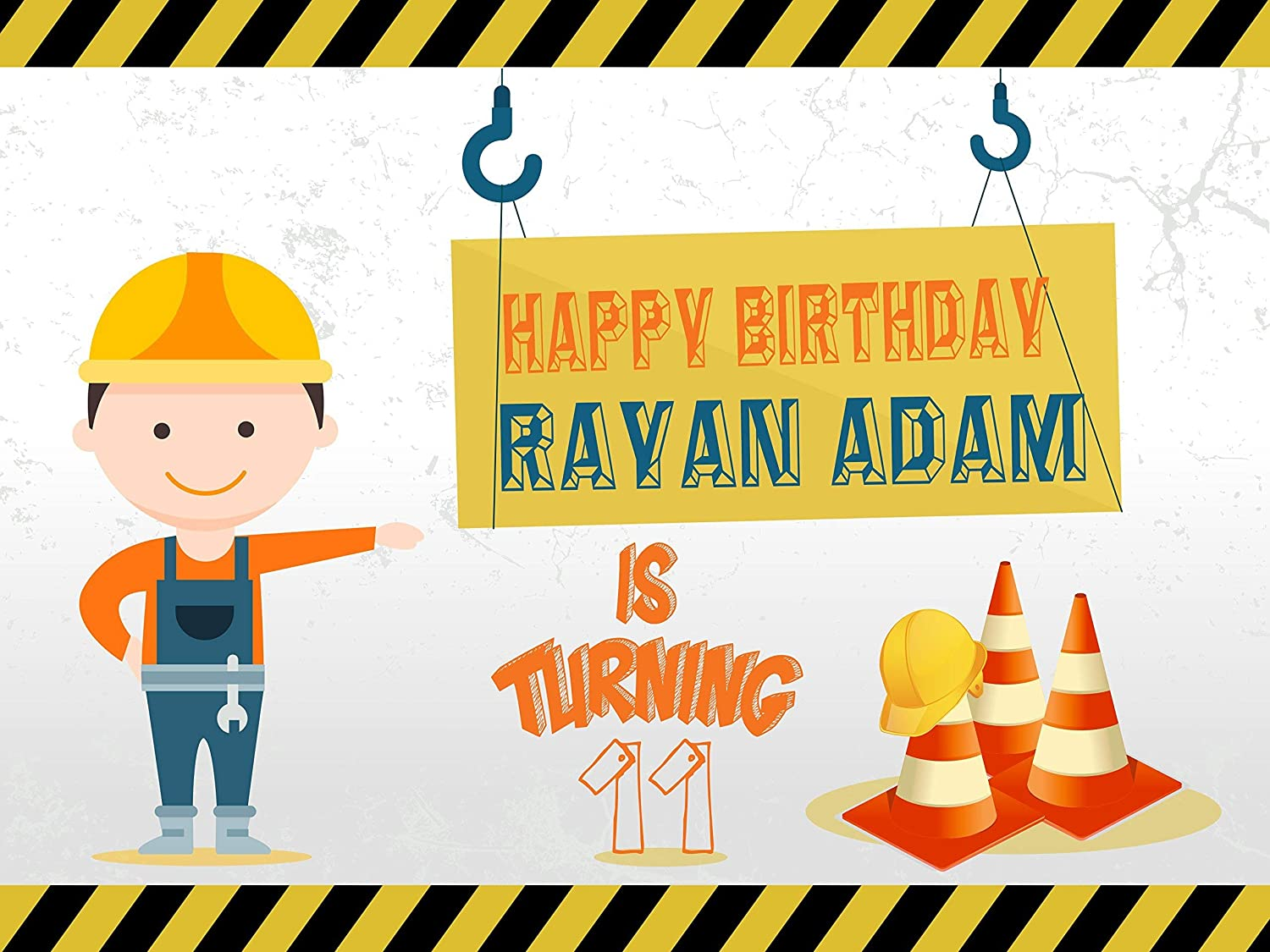 48x36 Handmade Party Supplies Poster Print Size 24x36 Custom Construction Sign Caution Cones Boy Worker Banner Decoration Birthday Party Poster with Crane 48x24 Birthday Banner Wall D/écor