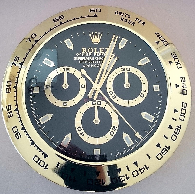 Reloj de pared imitación Rolex GMT original - Diámetro: 35 cm - Dial de color negro.: Amazon.es: Hogar