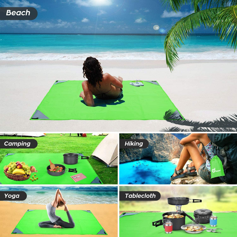 Escursione e Spiaggia Viaggi Adatto per Camping Coperta da Tasca Verde Tappetino da Spiaggia Impermeabile e Leggera Odoland Coperta da Picnic Pieghevole 140 x 100 cm