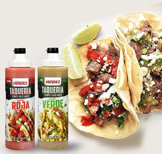 Amazon.com : Herdez Taqueria Street Taco Sauce SALSA ROJA & SALSA VERDE COMBO 9 oz Each/Gluten Free (Roja/Verde 2 Pack) : Grocery & Gourmet Food