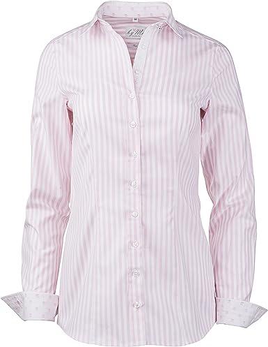 byMi - Camisas - Rayas - Clásico - para mujer rosa y blanco 50 : Amazon.es: Ropa y accesorios
