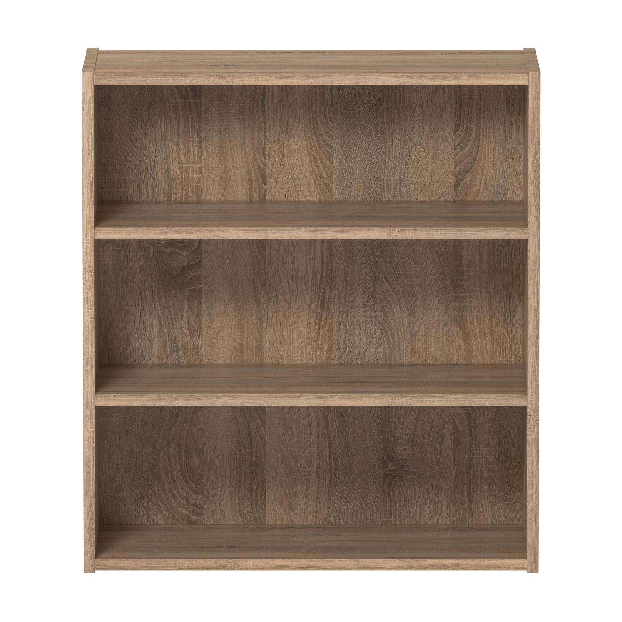 Ameriwood Basics Collection Weathered Oak Tally 3 Shelf Bookcase with Two Customizable Adjustable Shelves, Made from Laminated Particleboard with Weathered Oak Finish