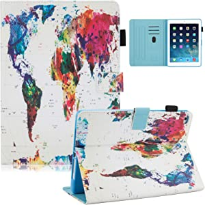 Dteck iPad 9.7 Inch 2018 2017 / iPad Air 2 / iPad Air Case - Multi-Angle Folio Stand Cover with Auto Sleep/Wake Function Wallet Protective Case for Apple iPad 9.7 inch 2017/2018,iPad Air 1 2,World Map