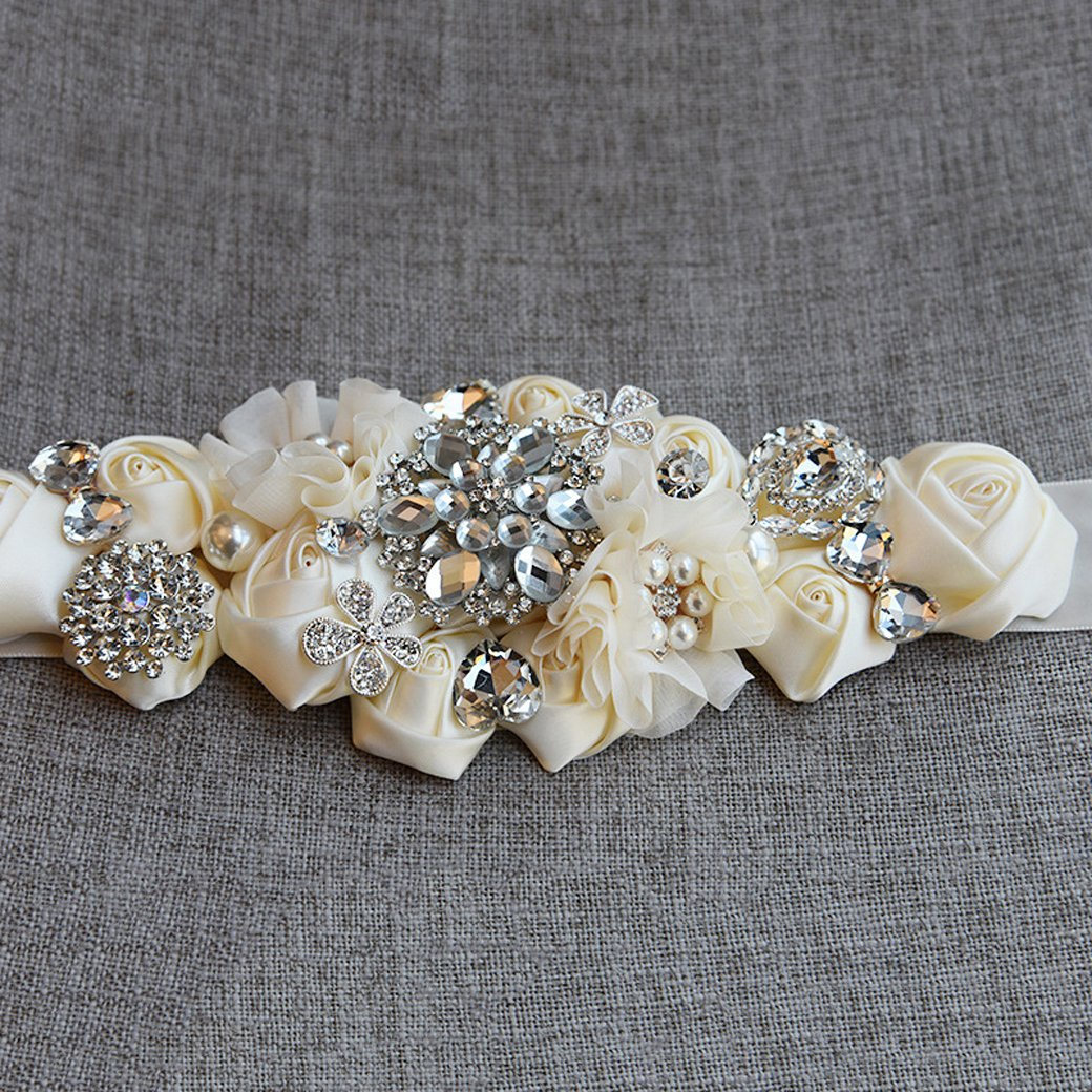 Lujuny Crystal Flower Bridal Maternity Sash Belt Floral Ribbon Belly Band for Wedding Pregnant Baby Shower Party Photoshoot