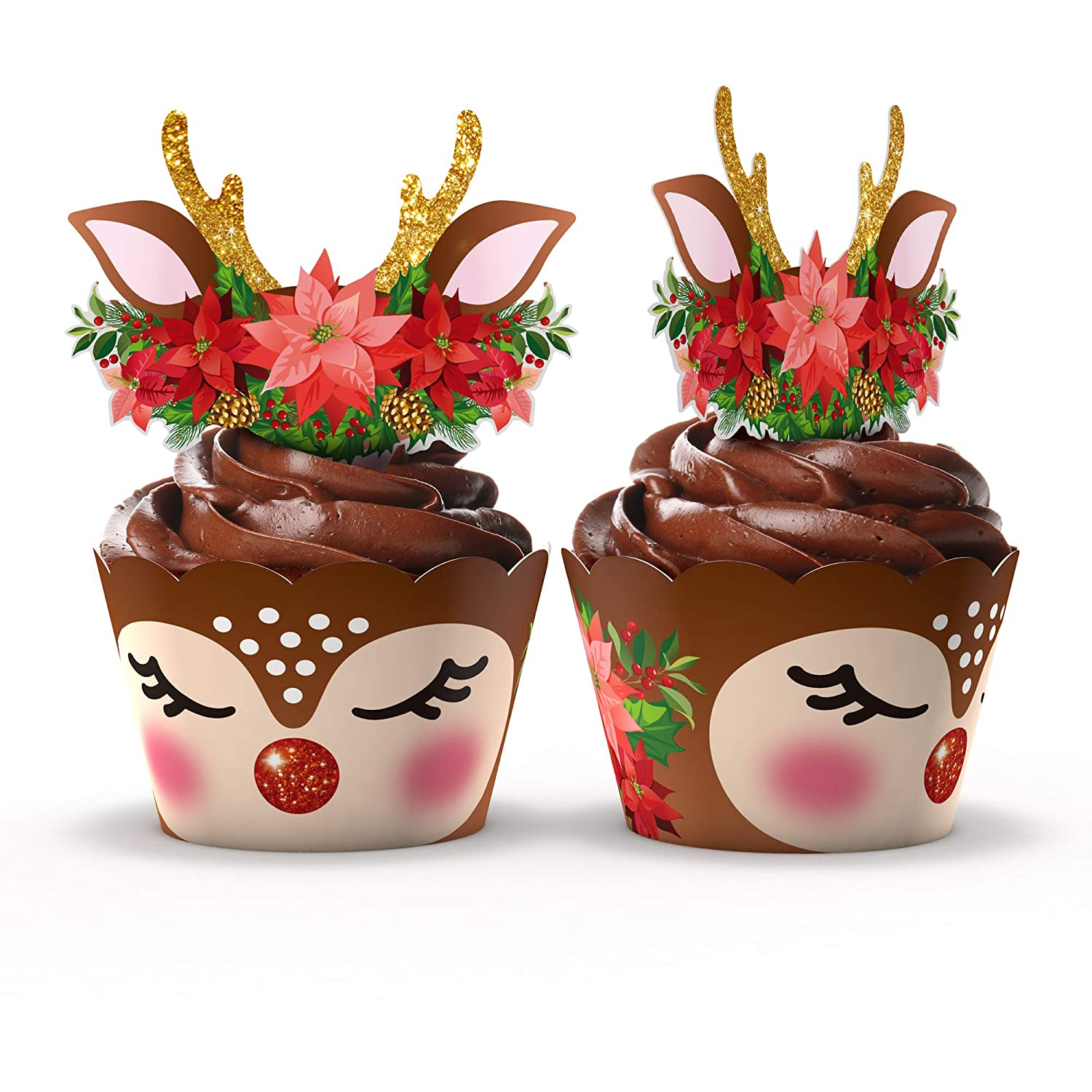 Cute Animal Cupcake Wrappers and Toppers by Funky Fledgling- 24 Sets (Christmas Deer)