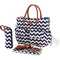 Kattee Chevron Diaper Bag Baby Nappy Tote Bag with Changing Pad & Bottle Holder (Dark Blue)