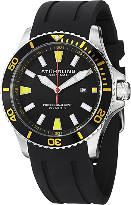 Stuhrling original men's legacy Watch, 706.04 Aquadiver Regatta Quartz Date Yellow Accent Rubber Strap Diver Watch