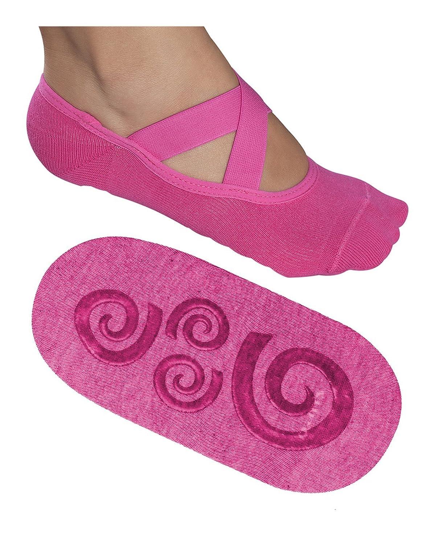 Lupo Women's Essential No Slip Crossover Yoga Pilates Barre Socks