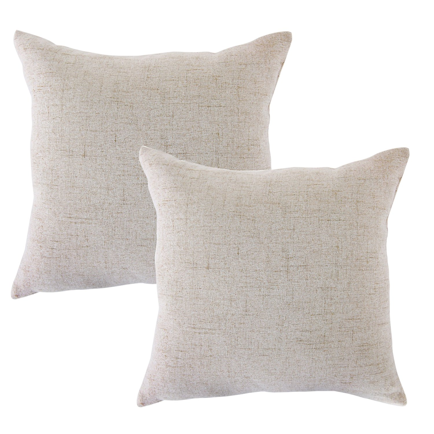 CHANODUG Linen Pillow Covers 20 x 20 Inch Sets of 2 French Gray Decorative Square Throw Pillow Cover Cushion Case Sofa Durable Modern Stylish Linen Throw Cushion Covers Hidden Zipper CASE-QH20
