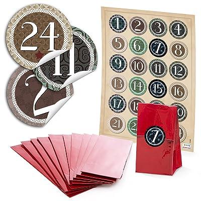 '48 rouges kekstüten avec insert parchemin (7 x 4 x 20,5 cm) et 48 rondes autocollantes autocollants 4 cm «Vintage», «Chiffres de 1 à 24 pour calendrier de l'avent superbe Calendrier de l'A